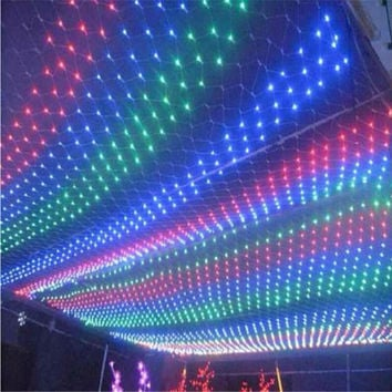 UK Stock! 3mx2m 6W LED Net Meshwork String Christmas lights Lighting LED Light Strings for Decoration Party Holiday Xmas Flash Light