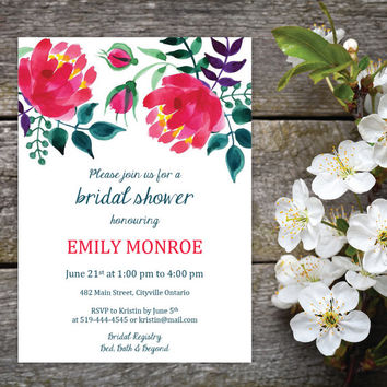 Watercolour Floral Bridal Shower Invitation and Name Tags | DIY Instant Download MS Word Document |  Pink, Green, Teal, Purple