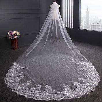 4m Luxury 1 Layer White/Ivory Cathedral Wedding Lace Sequins Applique Tulle Bridal Long Head Veil with Comb