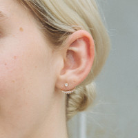 Gold Crescent Drop Earrings - Accessories