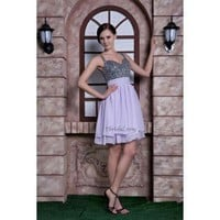 Brilliant A-Line Sweetheart Mini-Length Chiffon Beading Dress SAL1160