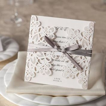 1 Set Sample Of Laser Cut White Wedding Invitations with Ribbon Envelope Seals