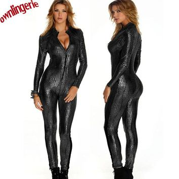 3 Color Hot Women Faux Leather Jumpsuit Snake Skin Jumpsuit Front Zip Long SLeeve Bodysuit Spandex Catsuit Women M7241