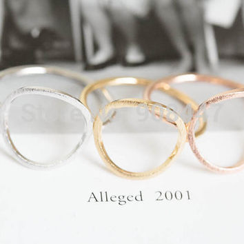 2016 Simple Gold Silver Rose Open Round Rings Brushed Circle Women Rings Trendy Alloy Round Party Wedding Bands Rings R027