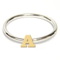 Jane Basch Two-Tone Initial Ring | Nordstrom