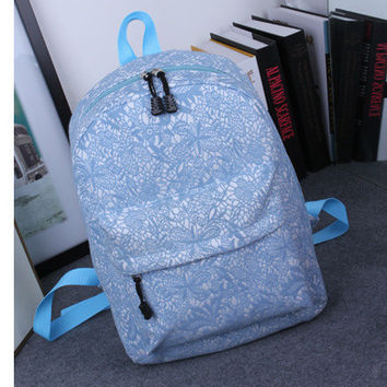 Women's Students School Bags Lace High Quality Double Shoulder Bag Canvas Sky Blue Backpack