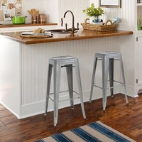 """Best Choice Products Set of 2 Modern Industrial Bar Stools 30"""" Seat Height- Silver - Walmart.com"""