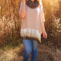 Judith March: Fresh In Fringe Top: Tan