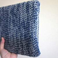 Crochet MacBook 13'' Side Opening Laptop Case The Commuter Rail Sleeve in Royal Blue and Gray