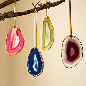 Multicolored Agate Gold-Rimmed Ornaments - Set of 4