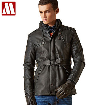 Fashion motorcycle Jacket Men PU leather jackets Water wash Vintage Thick warm winter