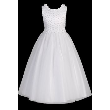 Flower Trimmed Satin & Tulle Girls Communion Dress w. Pearls 6-14