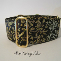 2 inch Black and Gold Silk Brocade Martingale Dog Collar, Black Silk Dog Collar, Black and Gold Greyhound Collar