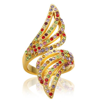 Gold Plated Floral Orchid Rainbow Jewels Ring