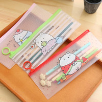 S27 Kawaii Cute Molang Rabbit Clear Scrub Pen Bag Pencil Holder Storage Case School Supply Birthday Gift Cosmetic Makeup