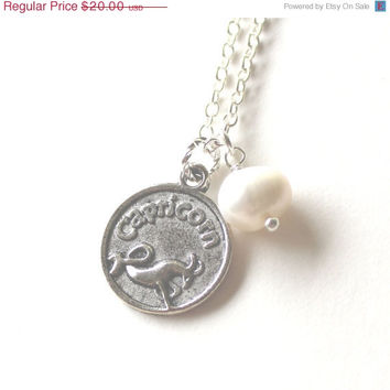 VALENTINES DAY SALE Capricorn astrology zodiac star sign charm and white pearl silver necklace