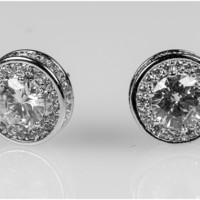 Lunia 11mm Round Halo Stud Earrings | 2.5ct | Cubic Zirconia | Silver