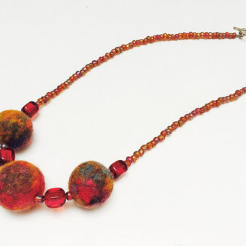 Felted necklace, Felt necklace, Felt jewelry, Red jewelry, Colorful necklace, Red Orange Blue Purple