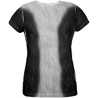 Halloween Tuxedo Black And White Cat Costume All Over Womens T Shirt