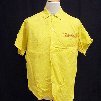 Vintage Charles Yellow Rockabilly Rock N Roll Bowling Shirt Large
