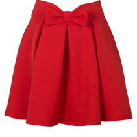 Red Bowknot Detail Skater Skirt