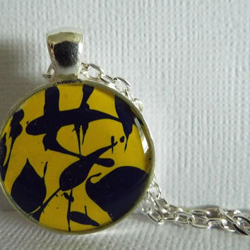 "Necklace, Round Pendant, Jewelry, ""Lava Lamp"", blue, yellow, Hand Painted, OOAK, Gift Idea, Unisex, Wearable, Artwork, Painted, Gift"
