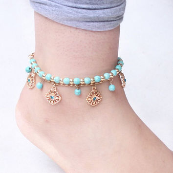 Green Rhinestone Beads Anklets