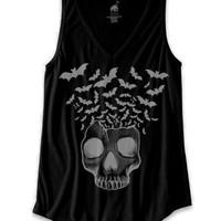 "Women's ""Skull with Bats Flying"" V-Neck Tank by Bat House Design (Black)"