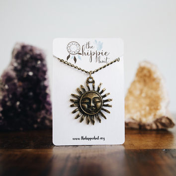 Sun Celestial Pendant Necklaces and Chokers - Silver and Bronze Hippie Boho Bohemian Summer Tumblr Trendy Girls Womens Jewelry Gift Present