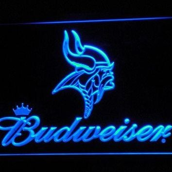 b279 Minnesota Vikings Budweiser LED Neon Sign with On/Off Switch 20+ Colors 5 Sizes to choose