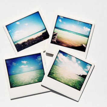 Beach Drink Coasters Polaroid Style Set by PIXELGRINphotography