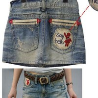 Limited Edition Dirty Denim Mini Skirt