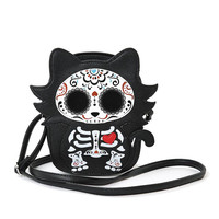 Cute Little Spooky Sugar Skull Day of the Dead Skeleton Kitty Cat Cross Body Bag Purse