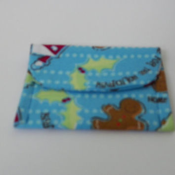 Home for the Holidays Blue Mini Pocket Jewelry Pouch