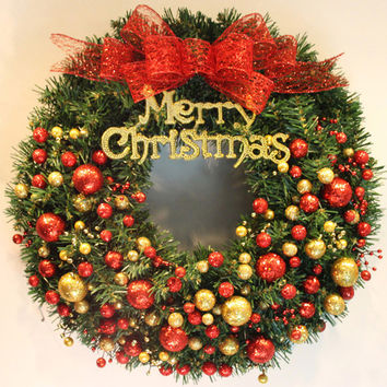 2016 40cm Merry Christmas Pine Rattan Garland with Balls Door Hanging Ornaments Xmas Wreath Christmas Decorations for Home R086