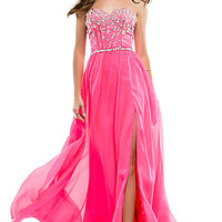 Strapless Beaded Prom Gown by Flirt