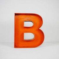 "12"" Inch Orange Wood Letter 'B' Rustic Decor"