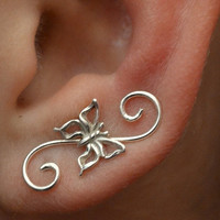Swirly Butterfly Mini Ear Pin - Gold Filled and Sterling Silver - SINGLE SIDE