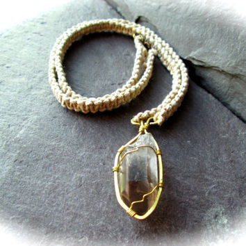 Smoky Quartz Necklace Wire Wrapped Hammered Brass on Braided Plain Hemp Raw Black Crystal Pagan Wicca Shaman Druid Necklace Made in UK