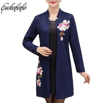 2 Pieces/set Women Embroidery Embroidery Floral with Diamonds Two Piece Set Long Tank Tops + Cardigan Sweater Mother Clothing