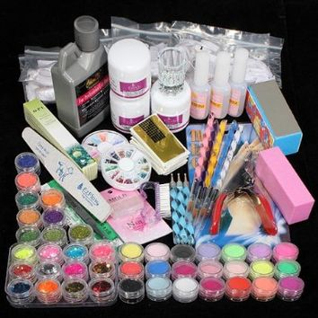 42 Acrylic Powder Liquid Brush Glitter Clipper Primer File Nail Art Tips Set Kit:Amazon:Beauty