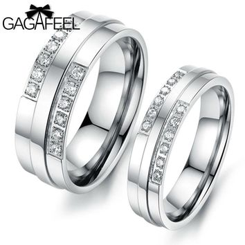 Titanium Steel Women Men Wedding Engagement Rings with Austria Crystal Valentines Day Gift