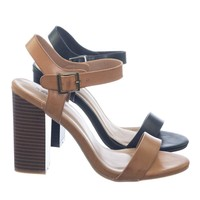 Creator01 by Bamboo Retro High Stacked Block Heel Open Toe Dress Sandal w Ankle Strap