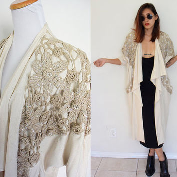 Vintage raw silk crochet drape long maxi coat duster nude beige cream creme batwing sleeves
