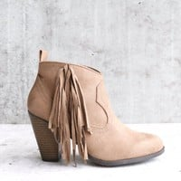 cara fringe ankle boots in taupe