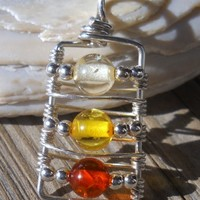 925 Sterling Silver Wire 3 Color Amber Pendant | pavlos - Jewelry on ArtFire