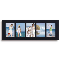 5 Opening Black Wood Wall Hanging Picture Photo Frame - 3.5 x 5
