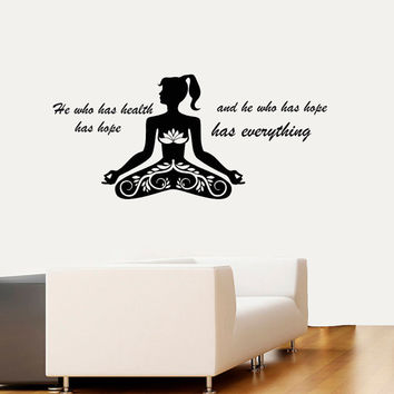 Wall Decal Vinyl Sticker Decals Art Home Decor Design Murals Sport Decals Wellness Quotes Decal Yoga Studio Decals Sport Quotes Decals OP28