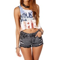 Blue/White/Red Crop Stars and Stripes Eagle Top
