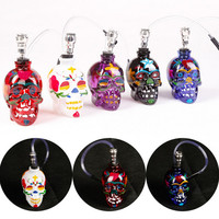 Top Fasion Punk Stained Large Ghost Head Skull Style Shisha Glass Hookah Water Weed Pipes Grinder Smoking Pipe Narguile